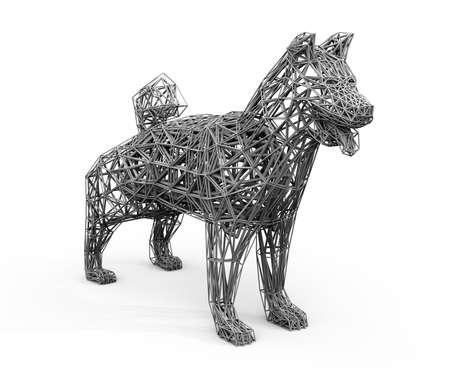 灰色の網かけに低ポリゴンの犬のワイヤー フレームのレンダリングします。3 D レンダリング イメージ。