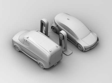 Clay model rendering of electric cars charging at charging station. 3D rendering image. Stock Photo