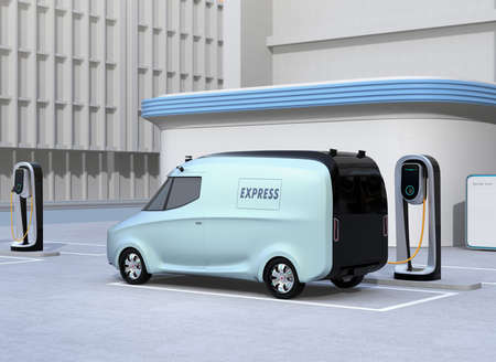 Electric delivery van charging at charging station. 3D rendering image.
