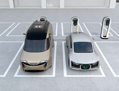 Front view of electric sedan and minivan charging at charging station. 3D rendering image. Stock Photo