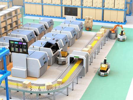 AGV、ロボットキャリア、3Dプリンター、ロボットピッキングシステムを備えたスマートファクトリー。3D レンダリング イメージ。