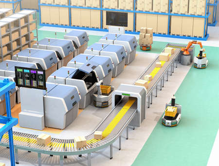 Smart factory equipped with AGV, robot carrier, 3D printers and robotic picking system. 3D rendering image.