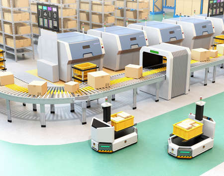 Self driving AGV (Automatic guided vehicle) with forklift carrying container box near to conveyor. 3D rendering image. Фото со стока