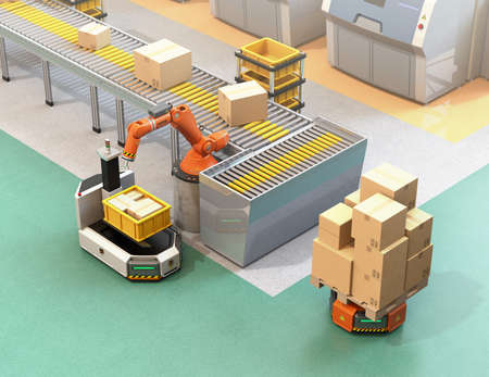 Robotic arm picking parcel from conveyor to to AGV (Automatic guided vehicle). 3D rendering image.