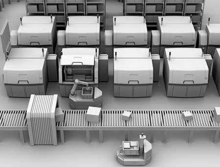 Kleimodelweergave van AGV (automatisch geleid voertuig) verzamelonderdelen van metalen 3D-printer. Slim fabrieksconcept 3D teruggevend beeld.