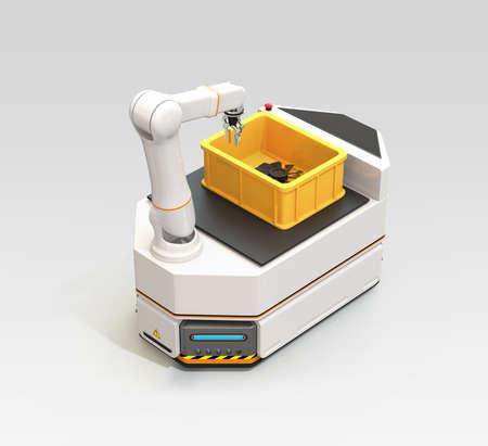 灰色の背景に隔離されたロボットアームを備えたAGV(自動誘導車両)。3D レンダリング イメージ。