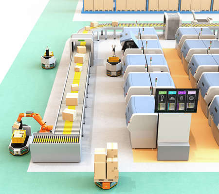 Smart factory with AGV, robot carrier, 3D printers and robotic picking system. 3D rendering image. Stock Photo