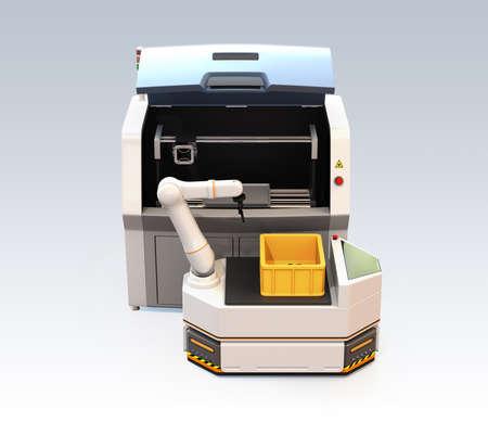 灰色の背景に隔離されたロボットアームと3Dメタルプリンタを備えたAGV(自動誘導車両)。3D レンダリング イメージ。