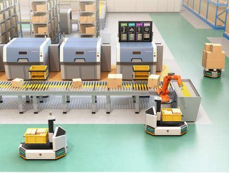 Pakket met robotarmen van transportband naar AGV (automatisch geleid voertuig). Monitor van de productielijn die de procesinformatie van de lijnen toont. 3D-rendering afbeelding.