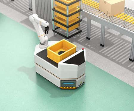 コンベアの横をロボットアームで移動する自動運転AGV(自動誘導車両)。3D レンダリング イメージ。