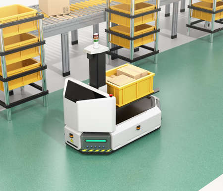 Self driving AGV (Automatic guided vehicle)  with forklift carrying container box near to conveyor. 3D rendering image. Stock fotó