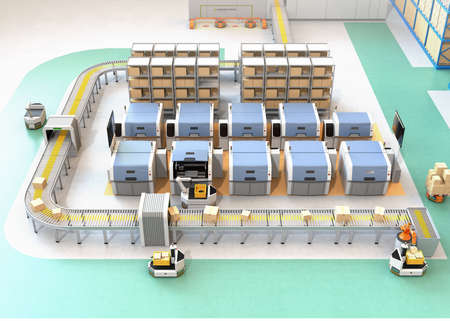 Slimme fabriek uitgerust met AGV, robotdrager, 3D-printers en robotpicksysteem. 3D-rendering afbeelding.