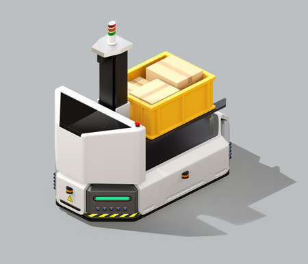 Self driving AGV (Automatic guided vehicle) with forklift isolated on gray background. 3D rendering image.