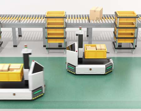 자동 운전 AGV (자동 인도 된 차량) 컨베이어 근처 컨테이너 상자를 들고 지게차와 함께. 3D 렌더링 이미지입니다. 스톡 콘텐츠