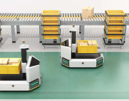 Self driving AGV (Automatic guided vehicle) with forklift carrying container box near to conveyor. 3D rendering image. Stockfoto