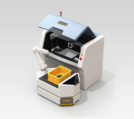 AGV (Automatic guided vehicle) picking machine parts from 3D metal printer. Smart factory concept. 3D rendering image.