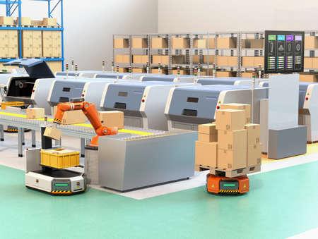 로봇 팔이 컨베이어에서 AGV (자동 인도 차량)로 소포를 집기. 라인의 공정 정보를 보여주는 제조 라인의 모니터. 3D 렌더링 이미지입니다. 스톡 콘텐츠