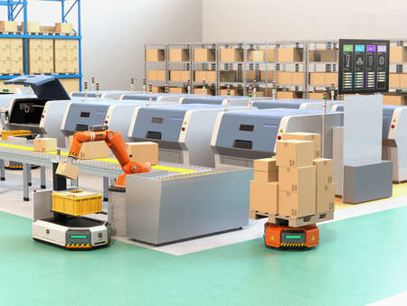 Robotic arm picking parcel from conveyor to AGV (Automatic guided vehicle). Monitor of the manufacture line showing lines process information. 3D rendering image.
