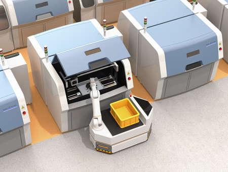 AGV(自動誘導車両)は、金属3Dプリンタから部品をピッキング。スマートファクトリーコンセプト3Dレンダリングイメージ。 写真素材