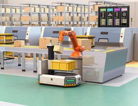 コンベアからAGV(自動誘導車両)への小包を選ぶロボットアーム。ラインのプロセス情報を示す製造ラインのモニター。3D レンダリング イメー