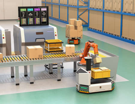 Robotic arm picking parcel from conveyor to to AGV (Automatic guided vehicle). Monitor of the manufacture line showing lines' process information. 3D rendering image. Standard-Bild