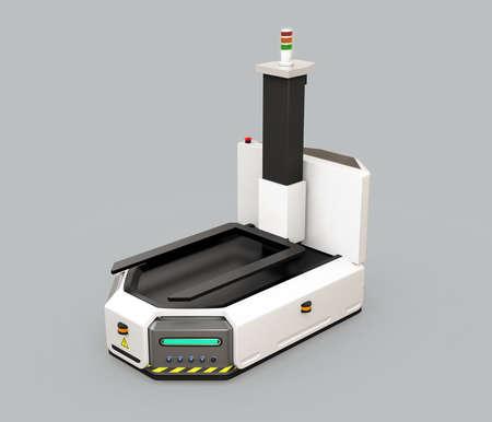 Zelfrijdende AGV (automatisch geleid voertuig) met vorkheftruck geïsoleerd op grijze achtergrond. 3D-rendering afbeelding. Stockfoto