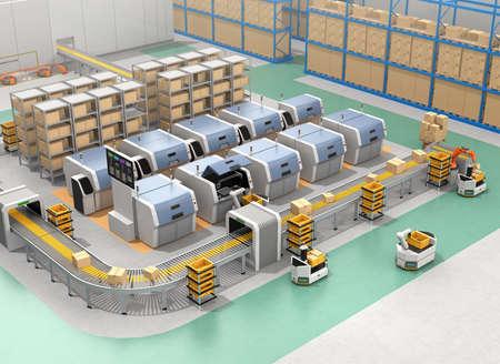AGV, 3D 프린터 및 로봇 팔이있는 스마트 공장 장비. 3D 렌더링 이미지입니다.