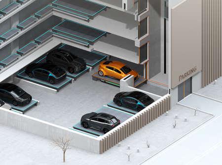 AGV (Automated Guided Vehicle)에 의한 자동 주차 시스템의 장면 전환 개념 이미지. 3D 렌더링 이미지입니다.