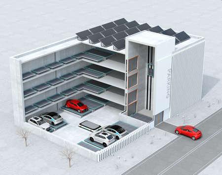 AGV(自動誘導車)による自動駐車システムのカットアウェイコンセプトイメージ。3D レンダリング イメージ。 写真素材 - 93320015