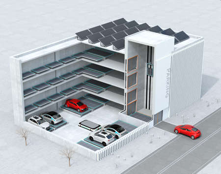 Cutaway-conceptafbeelding voor automatisch parkeersysteem van AGV (Automated Guided Vehicle). 3D-rendering afbeelding.