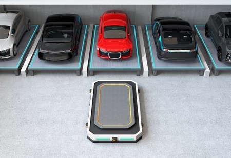 주차 공간에 빨간 차를 주차 한 후. 자동 가이드 차량 (AGV)은 주차 공간을 떠나 다음 차량을 줍니다. 자동 주차 시스템에 대 한 개념입니다. 3D 렌 스톡 콘텐츠