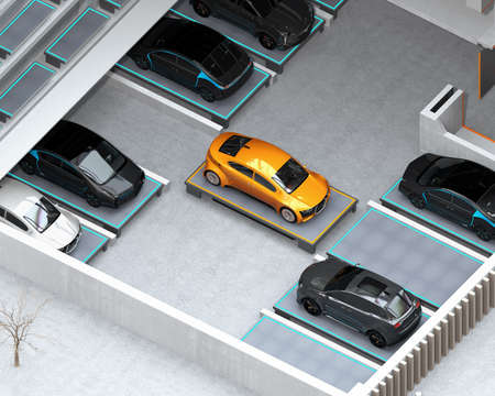 Automated Guided Vehicle (AGV) carrying yellow car to parking space. Concept for automatic car parking system. 3D rendering image.