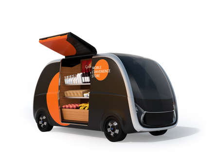 Autonomous vending car with side door opened. The vending car is equipped with shelf for selling foods, drinks and grocery. Mobile convenience store concept. 3D rendering image. 写真素材