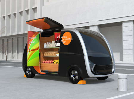 Self-driving vending car parking on the street. The vending car is equipped with shelf for selling foods, drinks and grocery. Mobile convenience store concept. 3D rendering image. 写真素材