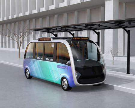 Ônibus de transporte autônomo que espera na estação de ônibus. A estação de ônibus equipado com painéis solares para energia elétrica. Imagem de renderização 3D.