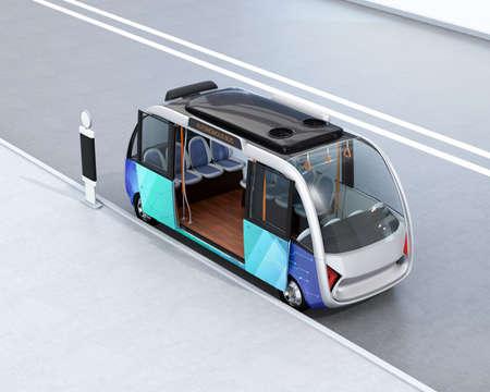 버스 정류장에서 대기하는 자율 셔틀 버스. 3D 렌더링 이미지입니다.