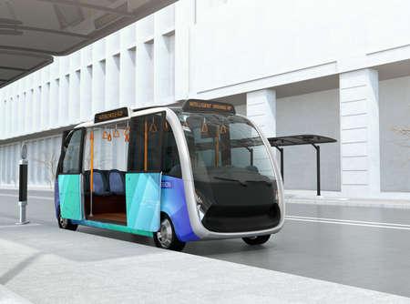 버스 정류장에서 기다리는자가 운전 셔틀 버스. 버스 정류장은 전력을위한 태양 전지 패널을 갖추고 있습니다. 3D 렌더링 이미지입니다.