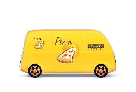 Side view of yellow self-driving pizza delivery van isolated on white background. 3D rendering image.