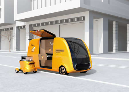 Self-driving pizza delivery van and drone in the street. Last one mile concept. 3D rendering image.