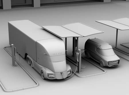 Clay model rendering of electric truck and minivan charging at charging station. 3D rendering image. 写真素材
