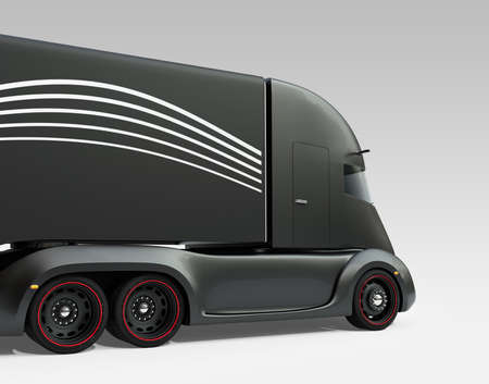 Rear view of black self-driving electric semi truck isolated on gray background. 3D rendering image.
