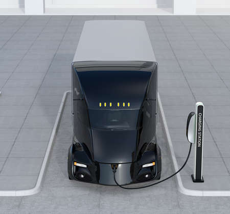 Front view of self-driving electric truck charging at charging station. 3D rendering image.