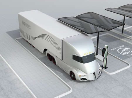 Electric truck charging at charging station. 3D rendering image.