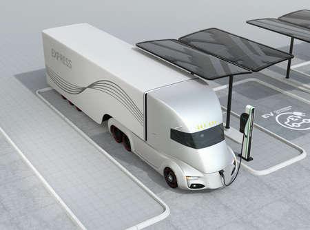Elektrische vrachtwagen opladen op laadstation. 3D-rendering afbeelding. Stockfoto