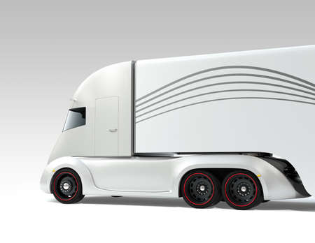 Rear view of silver self-driving electric semi truck isolated on gray background. 3D rendering image. 写真素材