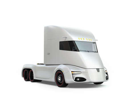 Self-driving electric semi truck isolated on white background. 3D rendering image. Original design.