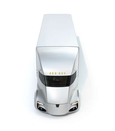 Front view of self-driving electric semi truck isolated on white background. 3D rendering image. 写真素材