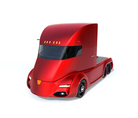 Metallic red self-driving electric semi truck isolated on white background. 3D rendering image. Original design.