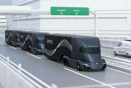 A fleet of black self-driving electric semi trucks driving on highway. 3D rendering image.