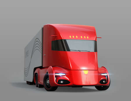 Metallic red self-driving electric semi truck isolated on gray background. 3D rendering image 写真素材
